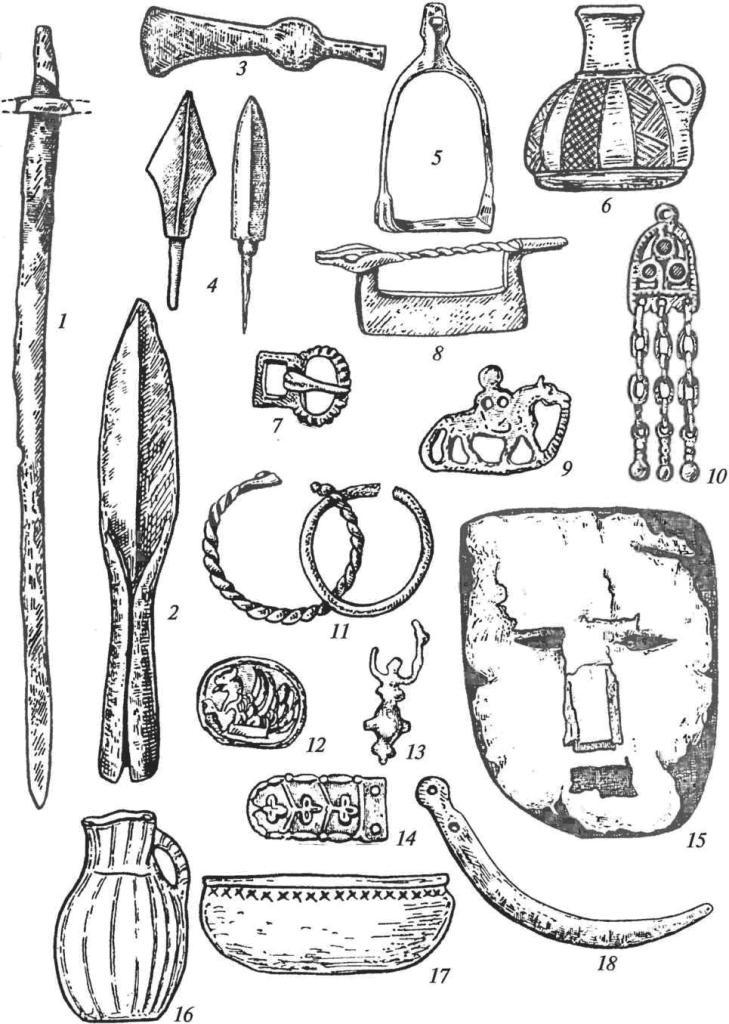 Инвентарь раннеболгарских погребений: 1 — меч; 2 — копье; 3 — топор; 4 — стрелы; 5 — стремя; 6, 16 — кувшины; 7 — пряжка; 8, 9 — кресала; 10 — подвеска; 11 — браслеты; 12 — накладка; 13 — серьга; 14 — накладка ременная; 15 — маска-личина; 17 — миска; 18 — серп (1-5, 7, 9, 13, 18— железо; 8— железо и бронза; 6, 16, 17— керамика; 10-14— бронза)