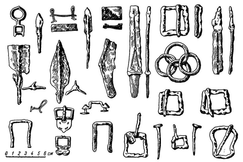 Рис. 4. Вещи из находок у с. Воскресенского близ Днепровских порогов (VIII в.)