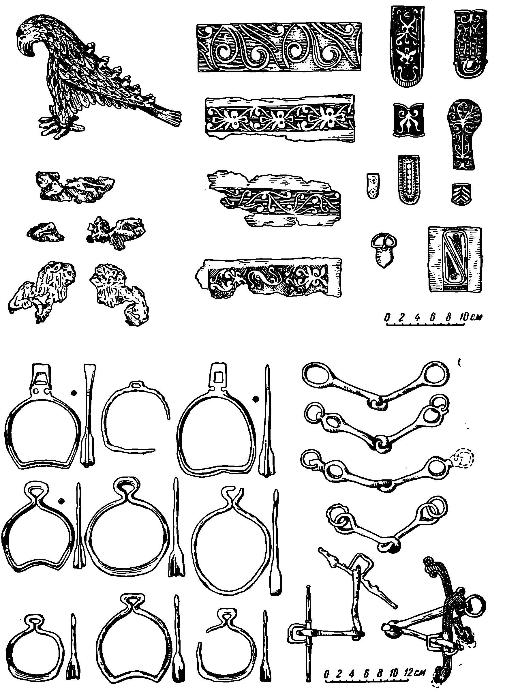 Рис. 3. Вещи из находок у с. Воскресенского близ Днепровских порогов (VIII в.)
