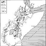 Рис. 1. Схема расположения пунктов распространения ископаемых гоминид в Восточной Африке. I — грабены рифтовой зоны; II — развитие позднетретичных и раннечетвертичных отложений; III — вулканические области; IV — местонахождения ископаемых гоминид. 1 — Летолил; 2 — Олдувай; 3 — Форт Тернан; 4 — Баринго; 5 — Канапои; 6 — Лотегем; 7 — Кообв фора; 8 — Илерет; 9 — Омо, Шунгура; 10 — Омо, Усно; 11 — Мелка Кунтуре; 12 — Афар (Хадар). А — западная ветвь Кенийской рифтовой зоны, Б — восточная ветвь Кенийской рифтовой зоны, В — эфиопская рифтовая зона, Г — впадина Афар.