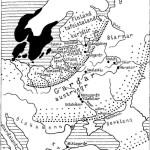 Рис. 129. Восточная Европа по географическим представлениям скандинавов эпохи викингов (топо-, гидро- и этнонимы см. в тексте)