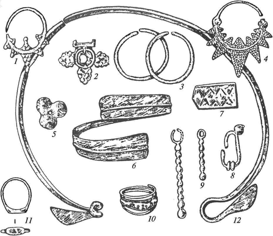Роменско-боршевская культура. Украшения: 1, 3, 4 — височные кольца; 2,1 — накладки; 5 — нашивная бляшка; 6 — браслет; 8, 9 — серьги; 10, 11 — перстни; 12 — шейная гривна