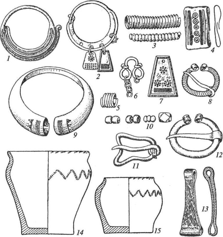 Культура длинных курганов (смоленско-полоцких). Инвентарь: 1,2 — височные кольца; 3, 4 — спиральки и обойма от головного венчика; 5 — спиральная пронизка; 6, 7 — подвески; 8, 12— фибулы подковообразные; 9— браслет; 10— стеклянные бусы; 11 — пряжка; 13 — пинцет; 14, 15 — глиняные сосуды