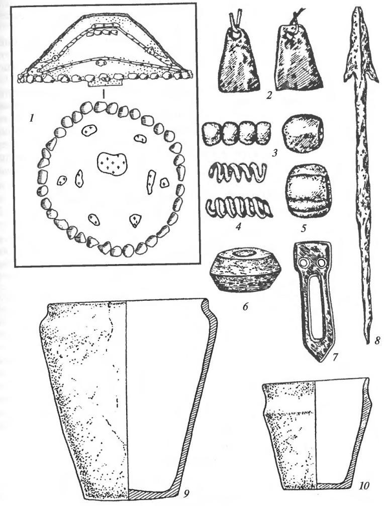 Культура сопок. Погребальная насыпь и инвентарь: 1 — схема-разрез и план основания сопки с несколькими ярусами погребений; 2 — подвески трапециевидные; 3,5— стеклянные бусы; 4 — спиральные пронизи; 6 — пряслице;7 — ременная накладка; 8 — наконечник копья; 9, 10 — глиняные сосуды