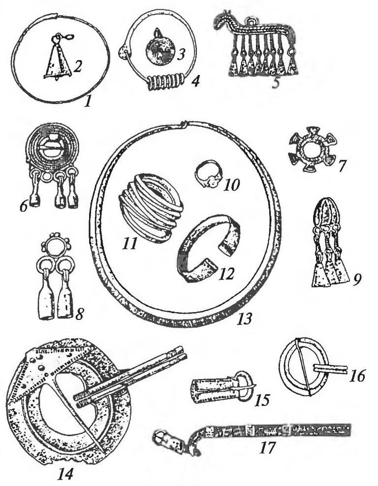 Украшения финских племен: 1,4 — височные кольца; 2, 3, 5, 8 — «шумящие» подвески; 6, 7, 14— нагрудные пряжки; 9 — перстень с подвесками; 10 — перстень; 11, 12— браслеты; 13— шейная гривна; 15 — поясная пряжка; 16 — застежка-сюльгама; 17 — поясной набор
