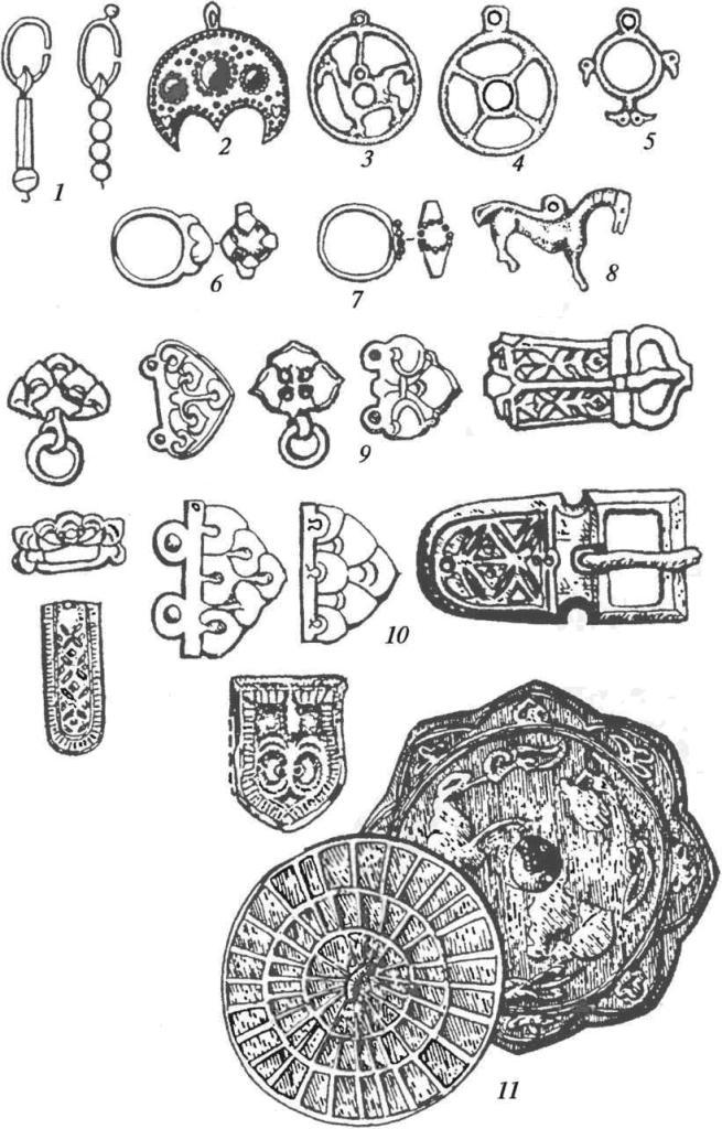 Салтово-маяцкая культура. Украшения: 1 — серьги; 2 — подвеска; 3-5 — солярные амулеты; 6,7 — перстни; 8 — подвеска-конек; 9 — детали наборного пояса; 10 — детали ременного набора; 11 — бронзовые зеркала