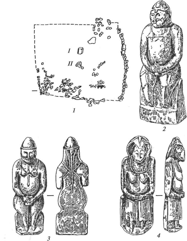 Половецкие каменные изваяния: 1 — план святилища и схема расположения изваяний; 2, 3 — изображения воинов; 4 — изображение женщины