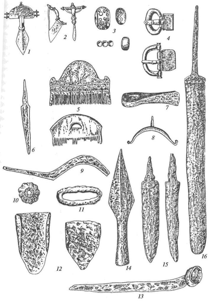 Черняховская культура. Украшения, предметы быта орудия труда оружие: 1, 2 - фибулы; 3 - бусы; 4 - пряжки; 5 - гребни; 6 - нож,7 - топор; 9 - серп; 10 - пряслице глиняное; 11 - кресало, 12 - наральники; 13 - коса; 14 - наконечник копья; 15 — кинжалы; 16 — меч