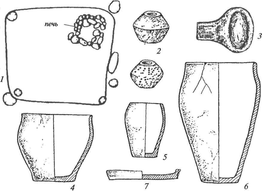 Корчакская культура: 1 — план жилой постройки столбовой конструкции; 2 — пряслица; 3 — льячка; 4-6 — сосуды лепные кухонные; 7 — сковорода лепная