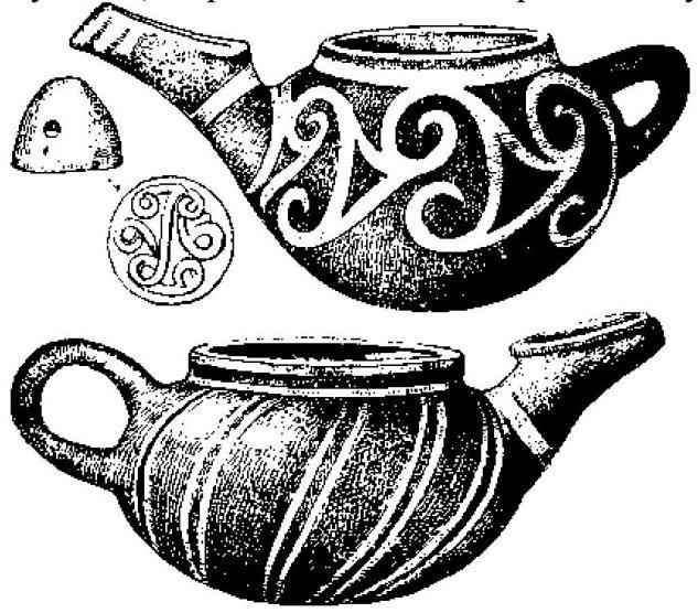 Рис. 9. Чайники и печать-пуговица Р. М. II. По Эвансу.
