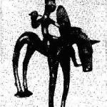 Гальштатская бронзовая фигурка конного вои¬на со шлемом, дротиком и щитом VI в. до н. э.