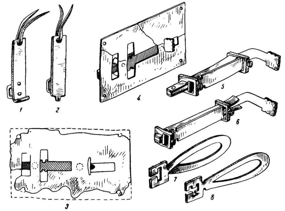 Рис. 44. Древнерусские врезные замки. 1 — накладка от замка из Старой Рязани; 2 — накладка от замка из Вщижа; 3 — замок из Вщижа; 4 — замок из Старой Рязани; 5 — схема механизма замка в закрытом положении; 6 — схема механизма открытого замка; 7 — реконструкция ключа к замкам этой конструкции; 8 — ключ от врезного замка из Пскова
