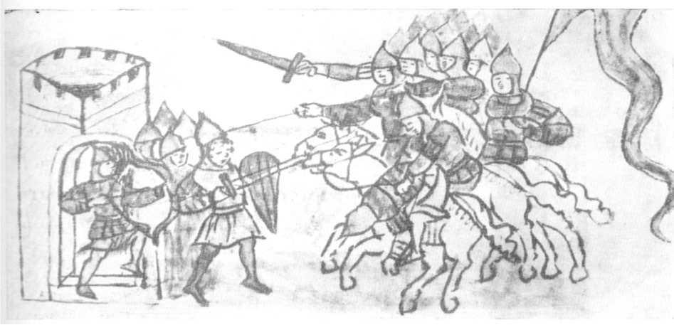 Рис. 33. Пехотинцы защищают город. Миниатюра Радзивиловской летописи.
