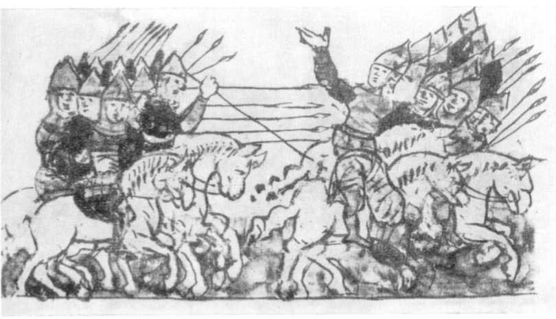 Рис. 37. Русские преследуют половцев. Миниатюра Радзивиловской летописи.