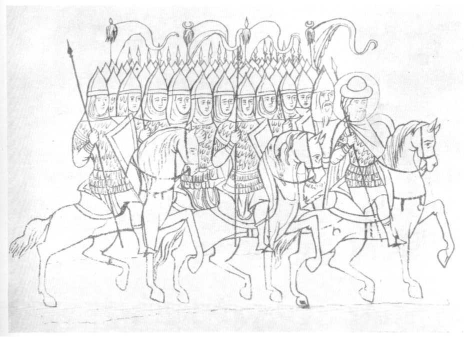Рис. 32. Отряд всадников с князем и воеводой во главе. Миниатюра Сильвестровского списка XIV в.