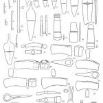 Рис. 47. Продукция волго-уральского металлургического очага, действовавшего в ареале ямных племен. 1-6 - шилья; 7, 16 - долота; 8-15, 20, 32 - ножи и кинжалы; 17-19 - тесла; 21 -молоток; 22-28 - втульчатые топоры; 29 - топорик-клевец; 30 - тесло-рубанок с деревянной рукоятью; 31 - наконечник копья; 33 - браслет.