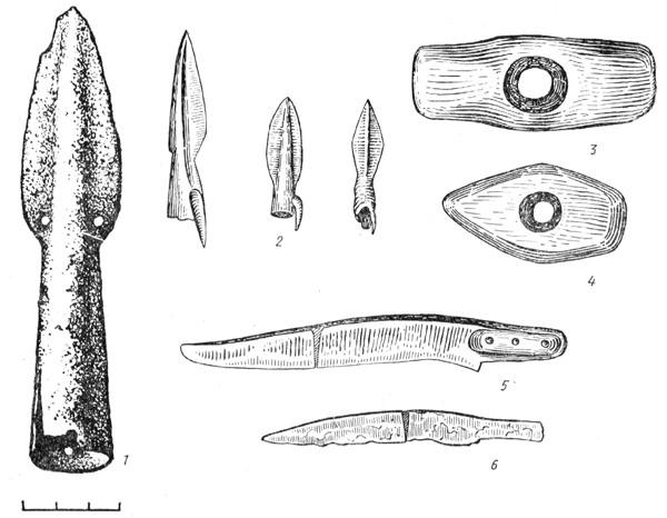 Рис. 107. Оружие и орудия Высоцкой культуры: 1 — железный наконечник копья, 2 — бронзовые наконечники стрел, 3, 4 — боевые каменные молот и топор, 5, 6 — железные ножи