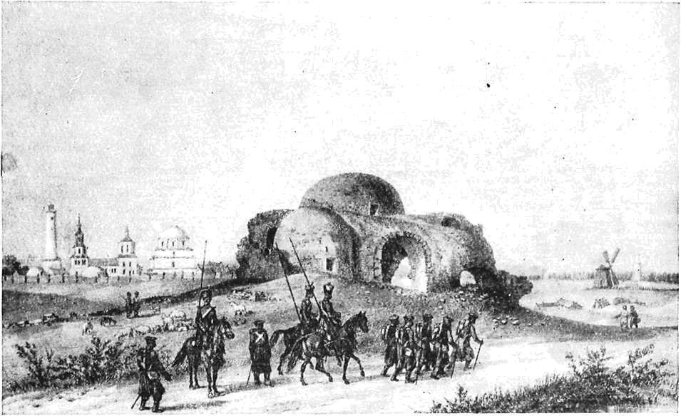 Развалины в Болгаре, на первом плане так называемая «Белая палата». Литография из альбома Демидова по рисунку А. Дюрона 1839 г. (Государственный Исторический музей)