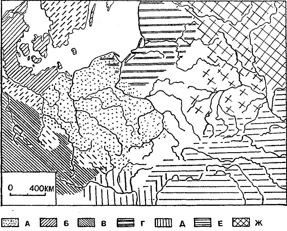 Рис. 7 Первоначальная территория славян по К. Яжджевскому: а — славяне; 6 — германцы; в — кельты; г - балты; д — иллирийцы; о — фракийцы; ж — финно-угры