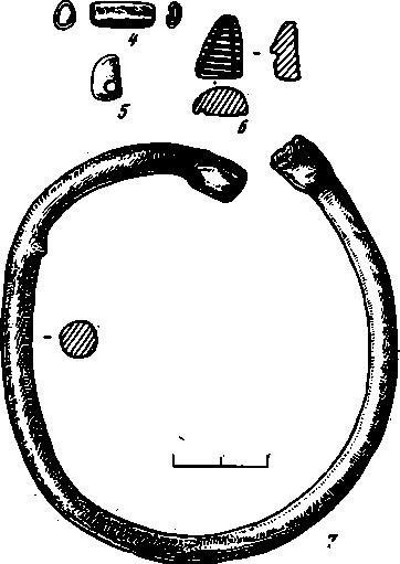 Рис. 1. 2, 3, 4, 7 — медные и свинцовое (7) украшения из Ярым Тепе I; 1, 5, 6 — медные предметы из Ярым Тепе II