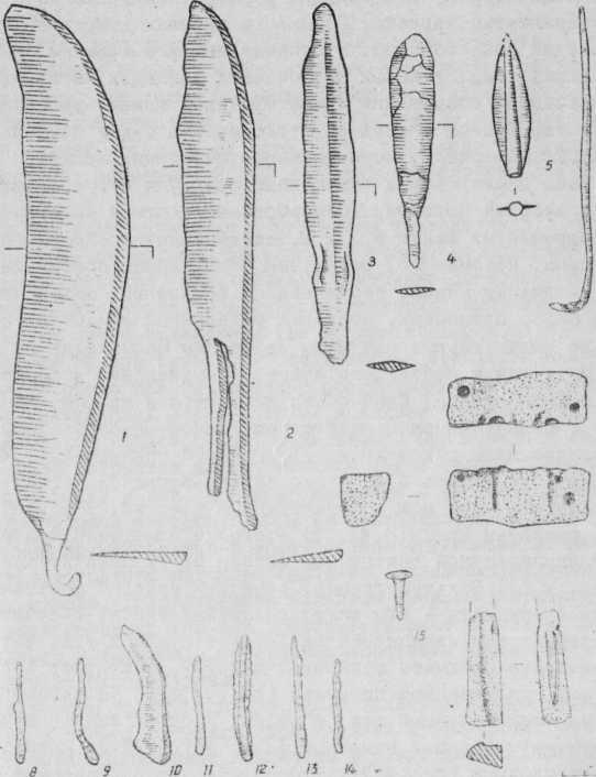 Рис. 4. Изделия из бронзы, обломки литейных форм.