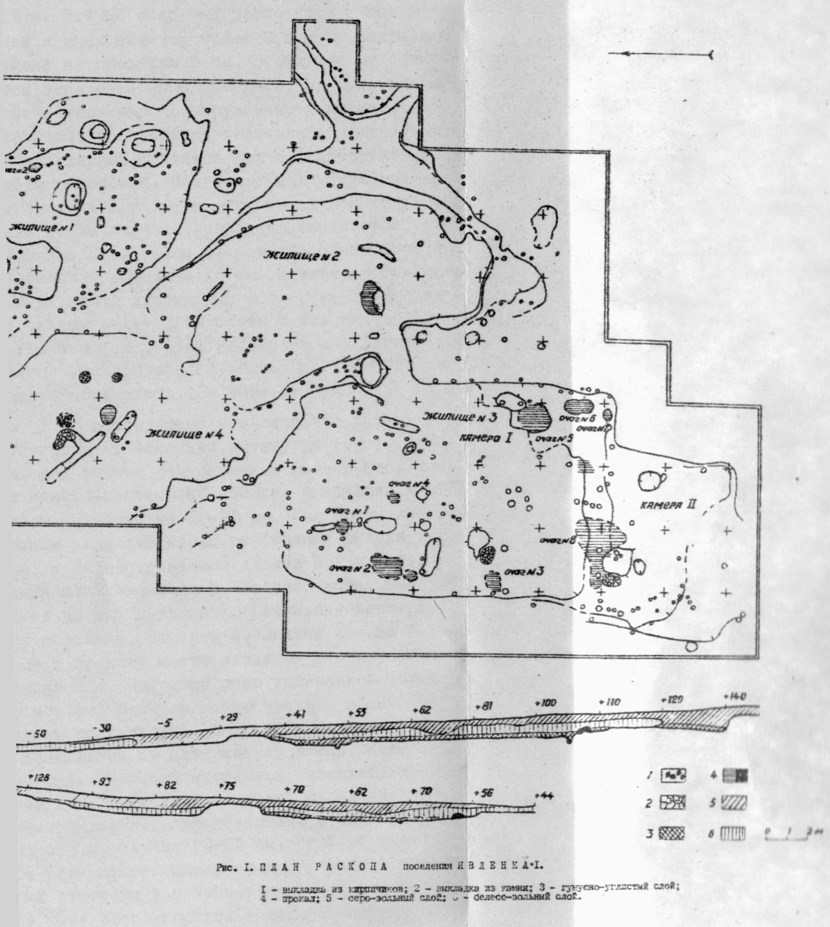 Рис. 1. План раскопа поселения Явленка I