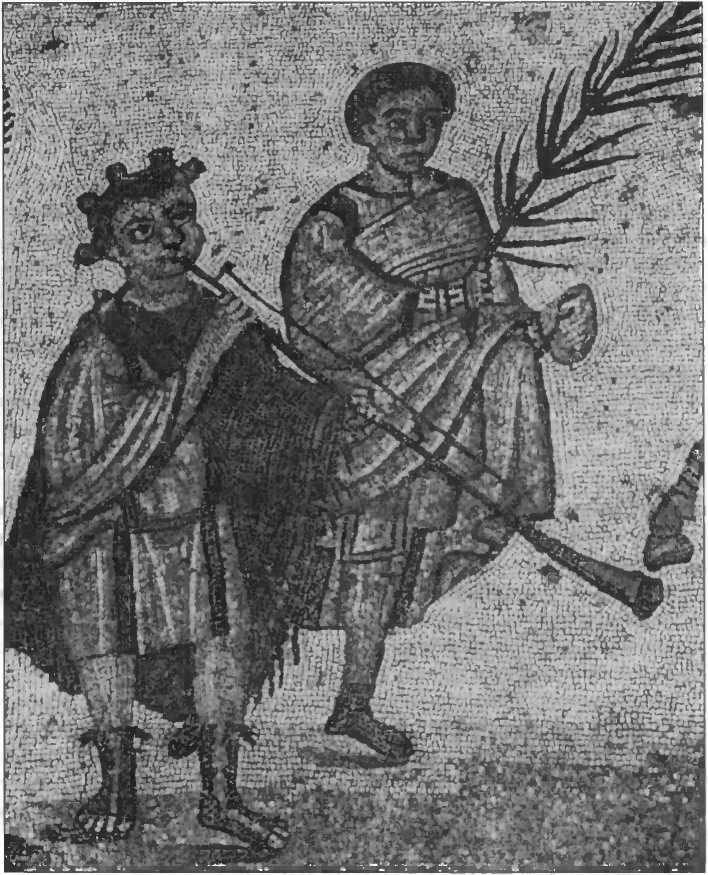 Юноши, сопровождающие праздничную процессию. Фрагмент мозаики из Пьяцца Армерина