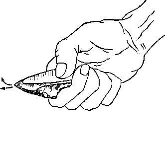 Рис. 7. Способ употребления остроконечника с выемкой (точками указано место заполировки).