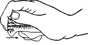 Рис. 6. Употребление отщепа в качестве резца (точками указано место заполировки).