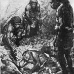 Погребение юноши-неандертальца в пещере Ле Мустье. Рисунок-реконструкция 3. Буриана