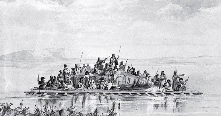 Рис. 1.3. Англичанин Остин Генри Лейярд переправлял свои ассирийские находки из Древней Ниневии по реке Тигр на деревянных плотах, которые для усиления устойчивости и плавучести дополняли сосудами из козлиных шкур, наполненных воздухом. Когда плот достигал Персидского залива, то воздух выпускали, сосуды отправляли обратно на ослах, а деревянные конструкции продавали. Сами ассирийцы пользовались похожими речными судами