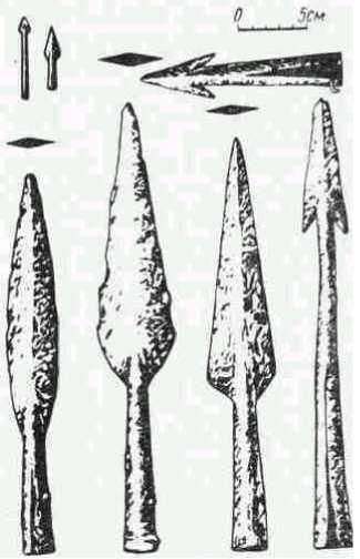 Предметы вооружения из зарубинецких памятников.