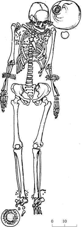 Рис. 1. Погребение 2 кургана 2 у с. Пороги (по: Симоненко, Лобай, 1991)