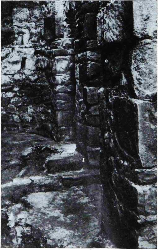 Рис. 10. Остатки солеи в северной апсиде. На переднем плане у основания пилона видны остатки древнего пола храма