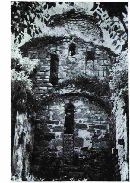 Рис. 6. Часть северного фасада и северный притвор. Видны остатки коробового свода.
