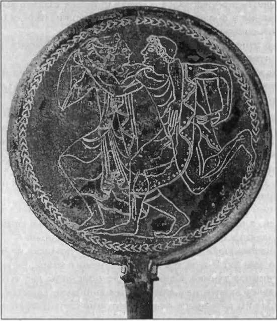 Этрусское бронзовое зеркало со сценой пляски. V в. до н.э.