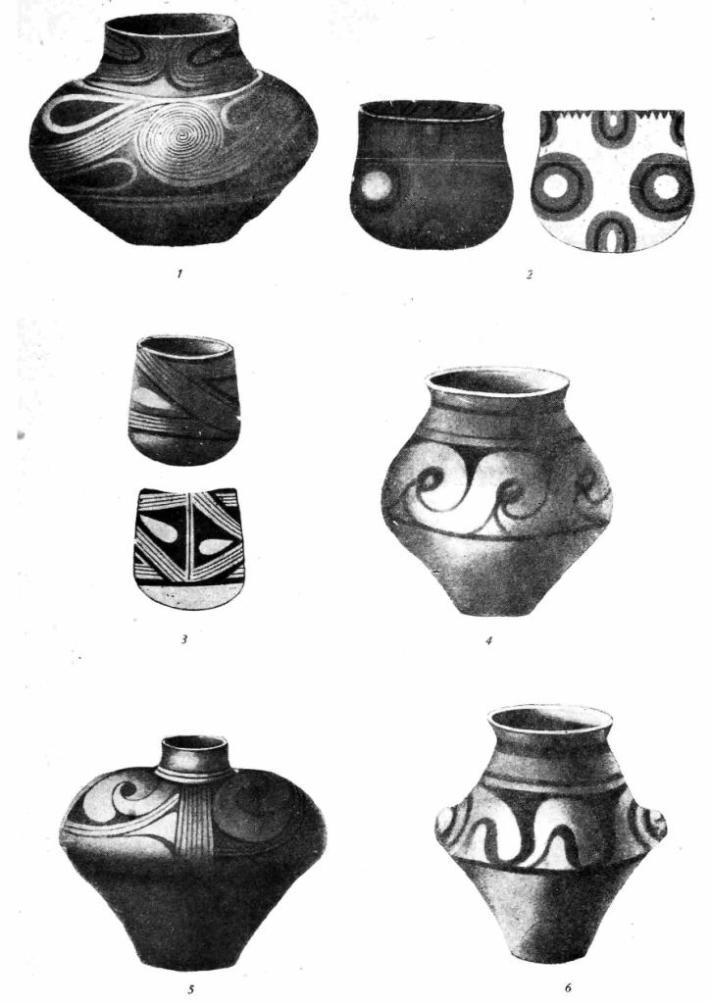 Рис. 2. Керамика иэ Бильче-Злоге. 1, 2, 3 — нижний горизонт; 4, 5, 6 — верхний горизонт.