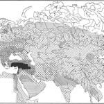 Динамика распространения медных и бронзовых изделий в Старом Свете: 1 — VII-VI тыс. до н.э.; 2 — V— 1-я половина IV тыс. до н.э.; 3 — 2-я половина IV — 1-я половина III тыс. до н.э.; 2-я половина III тыс. до н.э. — XVIII/XVII вв. до н.э.; 5 — XVI/XV-IX/VIII вв. до н.э.; 6 — периферийное рассеивание