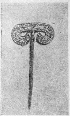 Рис. 4. Золотая булавка с штампо-ванной имитацией филиграни из кургана № XXII.