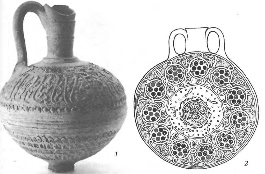 Сосуды со штампованным орнаментом: 1 — кувшин; 2 — фляга