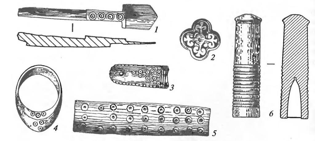 Изделия из кости: 1 — безмен для взвешивания монет; 2 — пряжка; 3 — накладка; 4 - перстень лучника; 5 — рукоять ножа; 6 — навершие посоха.