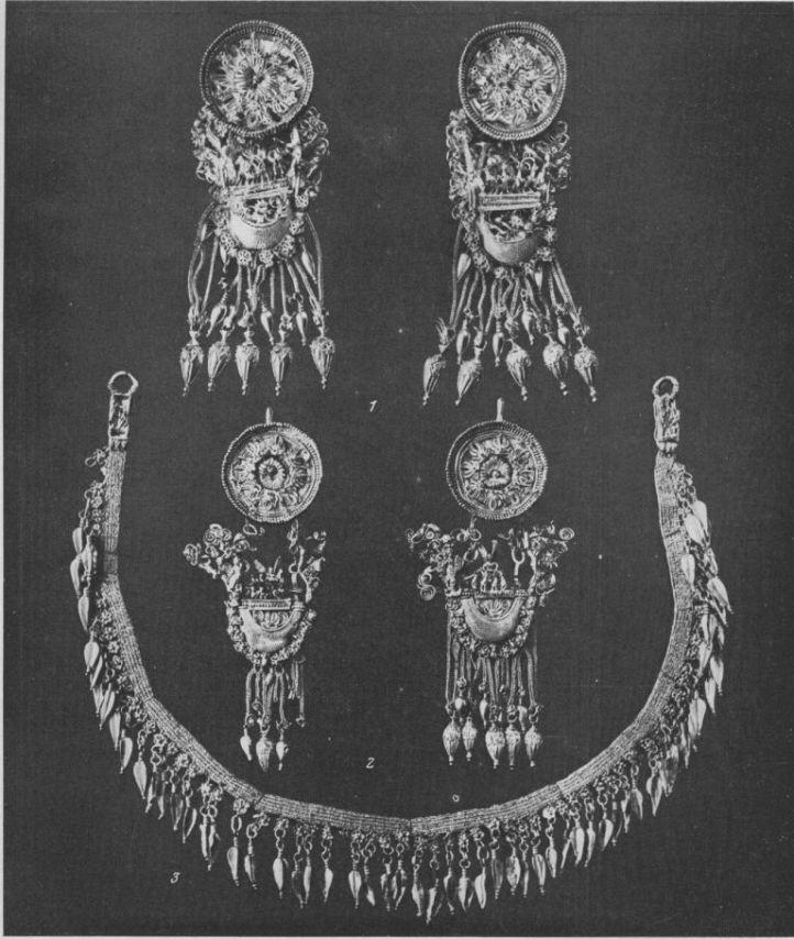 Таблица CXIII. Золотые серьги и ожерелье IV в. до н. э. 1 — Феодосия; 2, 3 — Херсонес. Составитель М. М. Кобылина